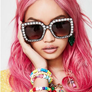 Oversized Rhinestone Brown Tortoise Sunglasses